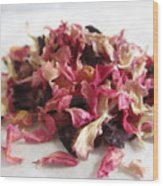 Dried Organic Carnation Petals Wood Print