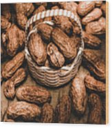 Dried Whole Peanuts In Their Seedpods Wood Print