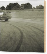 Drifting Tracks Japanese Car Drifting Round A Corner With Tyres Smoking Wood Print