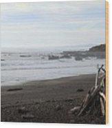 Driftwood And Moonstone Beach Wood Print