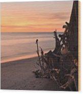 Driftwood At Sunset Wood Print