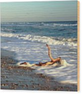 Driftwood In The Surf Wood Print