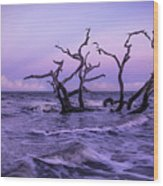Driftwood In The Waves Wood Print