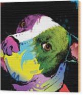 Dripful Pitbull Wood Print