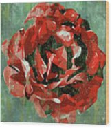 Dripping Poster Rose On Green Wood Print