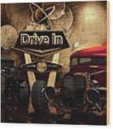 Drive In Wood Print
