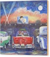 Drive-in Movie Theater Wood Print