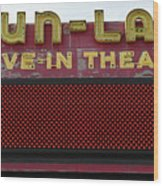 Drive Inn Theatre Wood Print