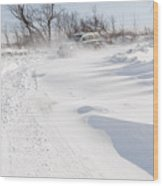 Driving In Drifting Snow Wood Print
