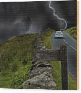 Driving Into The Storm Wood Print