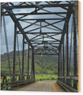 Driving Over Hanalei Bridge Wood Print