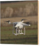 Drone Fly Above The Field Wood Print