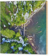 Drone Shot Of Lake 22 Bridge Wood Print