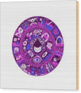 Drop Mandala Purple And Blue Wood Print