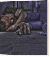 Drug Addict Shooting Up Wood Print by Guy Viner