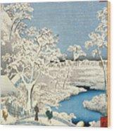 Drum Bridge And Setting Sun Hill At Meguro Wood Print by Hiroshige