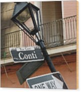 Drunk Street Sign French Quarter Wood Print