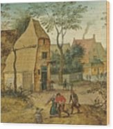 Drunkard Being Taken Home From The Tavern By His Wife Wood Print