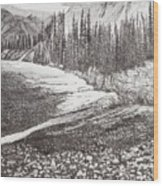 Dry Riverbed Wood Print