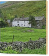 Dry Stone Wall And White Cottage - P4a16022 Wood Print