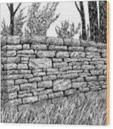 Dry Stone Wall Wood Print