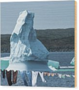 Drying Clothes In Ice Berg Alley Wood Print