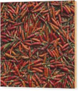Drying Red Hot Chili Peppers Wood Print