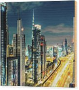 Dubai Downtown Architecture And A Highway.  Wood Print