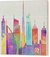 Dubai Landmarks Watercolor Poster Wood Print