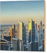 Dubai Towers At Sunset. Wood Print