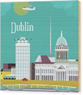 Dublin Ireland Vertical Scene Wood Print