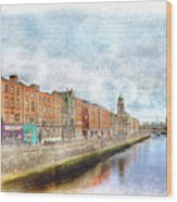 Dublin Watercolour Wood Print