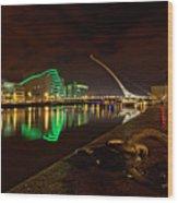 Dublin's Samuel Beckett Bridge At Night Wood Print