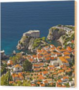 Dubrovnik Fortress From Above Wood Print