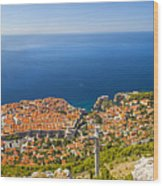 Dubrovnik From Above Panorama Wood Print