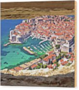 Dubrovnik Historic City And Harbor Aerial View Through Stone Win Wood Print