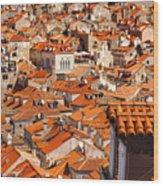 Dubrovnik Orange Old Town Rooftops Wood Print