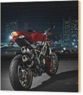Ducati By Moonlight Wood Print