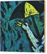 Duck With Umbrella Blue Wood Print