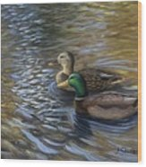 Ducks In The Pond Wood Print