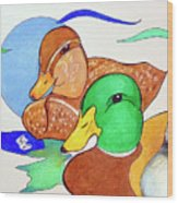 Ducks2017 Wood Print by Loretta Nash
