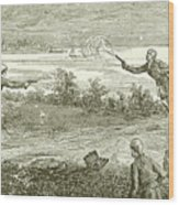 Duel Between Alexander Hamilton And Aaron Burr Wood Print