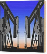 Dueling Oil Well Pumps Wood Print