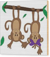 Duffworkscreative_monkeyfunlove_holdinghands Wood Print