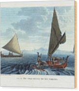 Dugout Outriggers From The Carolines Seen On Tinian Island Wood Print by d apres A Berard and A Taunay