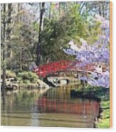 Duke Garden Spring Bridge Wood Print