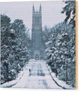 Duke Snowy Chapel Drive Wood Print by Duke University