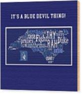 Duke University Blue And White Products Wood Print
