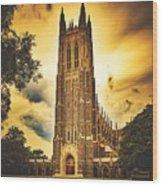 Duke University Chapel At Dusk Wood Print