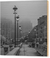 Fog In Boston Wood Print
